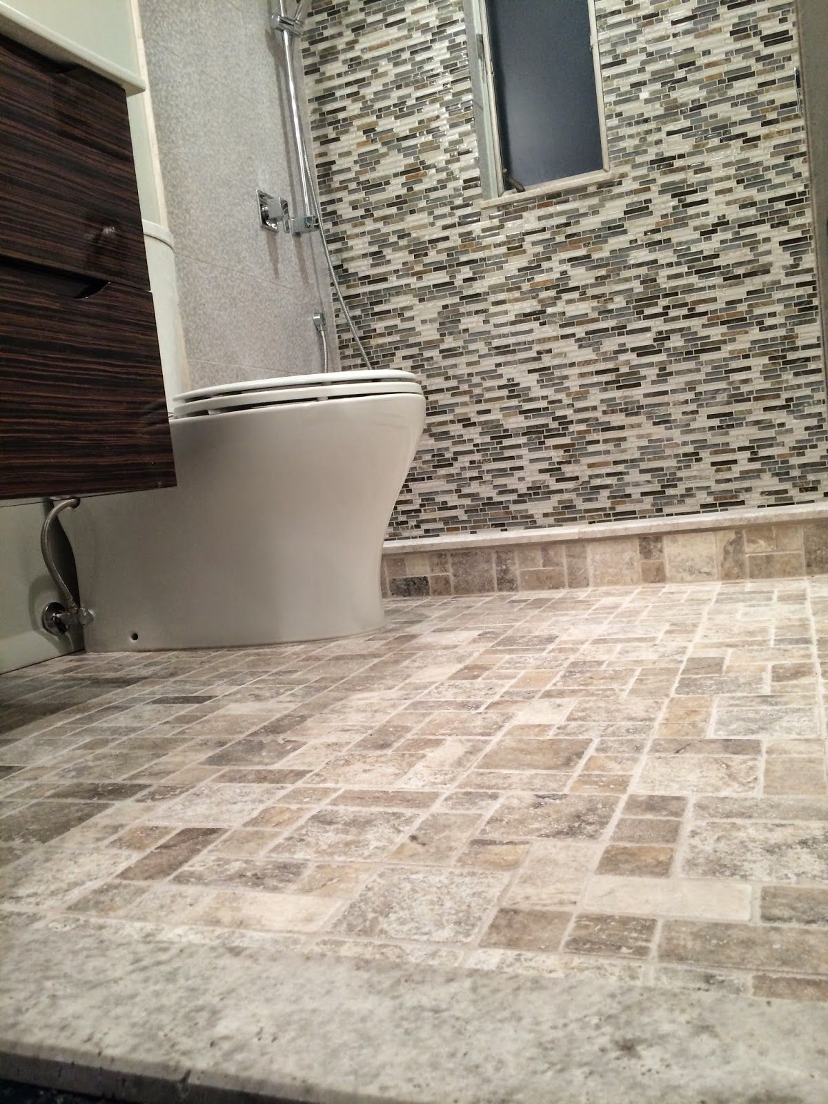 - Vail Shimmer Stria And Claros Silver Travertine Remzi On The Floor - Great  Customer Bath! Wall And Floor Tiles, Tile Floor, Travertine