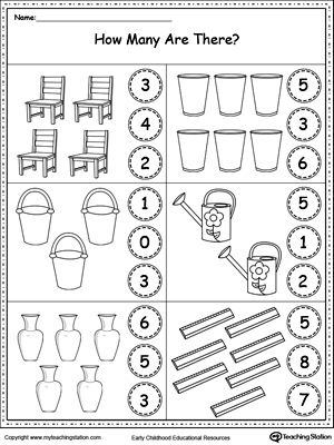 Count The Objects In Each Group Preschool Math Worksheets Kindergarten Math Worksheets Kindergarten Math