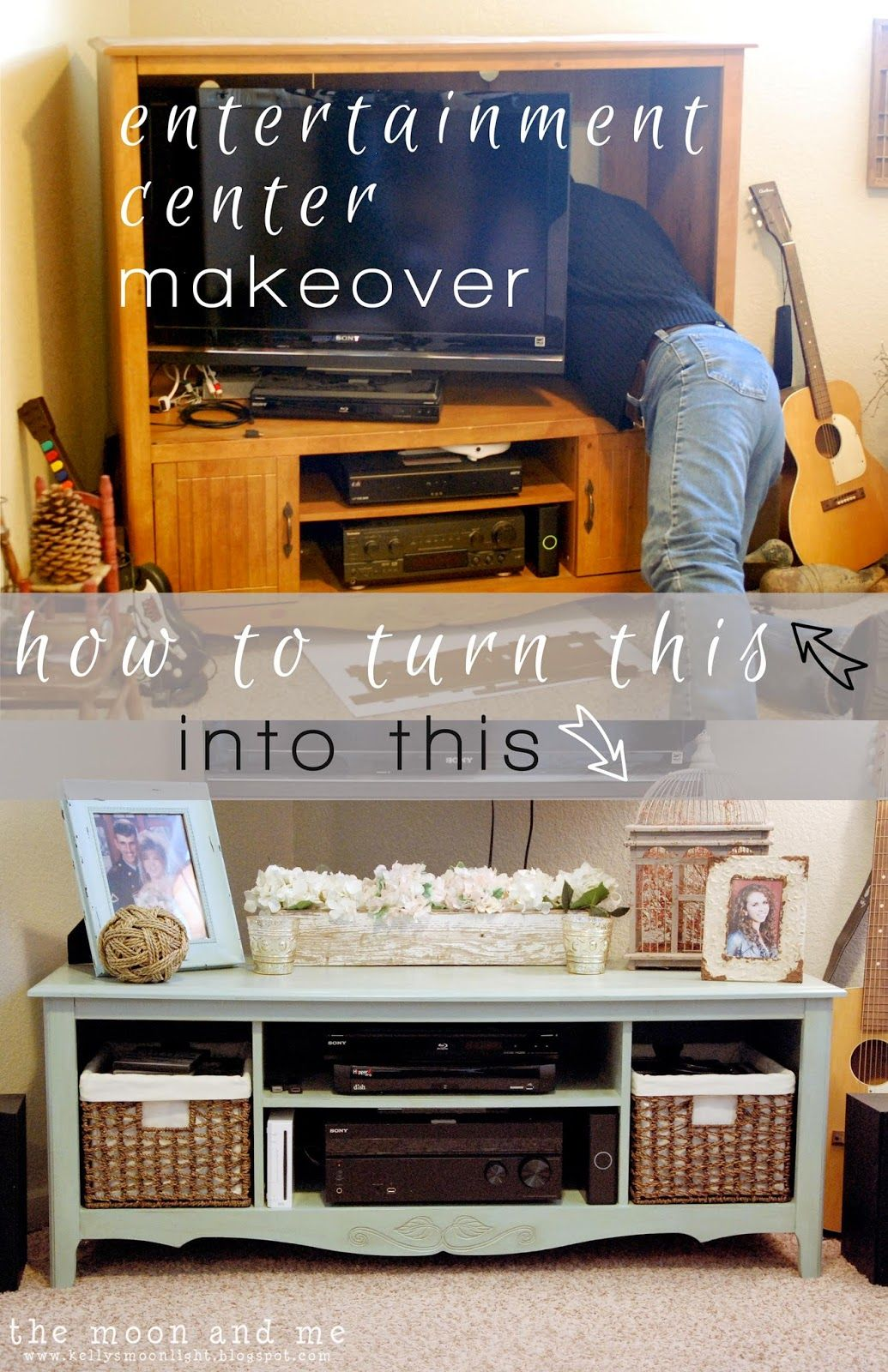 The Moon And Me Entertainment Center To Tv Console Makeover Oak Entertainment Center Diy Entertainment Center Entertainment Center Makeover