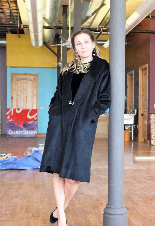 Vintage 1960s Lilli Ann Black Cashmere Coat Medium/Large