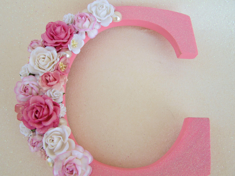 Pink letter C  Flower name letter  Nursery wall letter  Pink