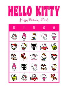 Hello Kitty Birthday Party Bingo Game Personalized Cards Delivered By Email