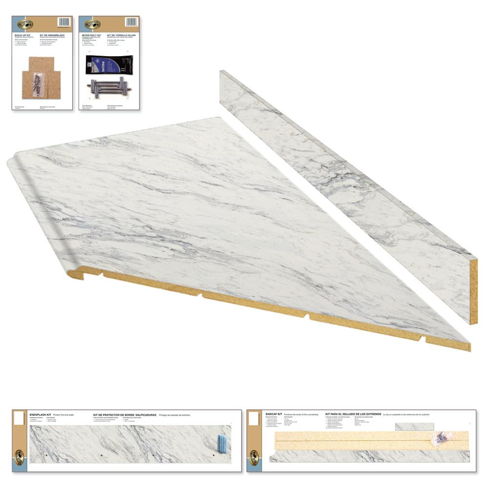 8 Ft Laminate Countertop Kit With Right Miter In Calcutta Marble With Premium Textured Gloss Finish And Valenc Laminate Countertops Countertop Kit Countertops