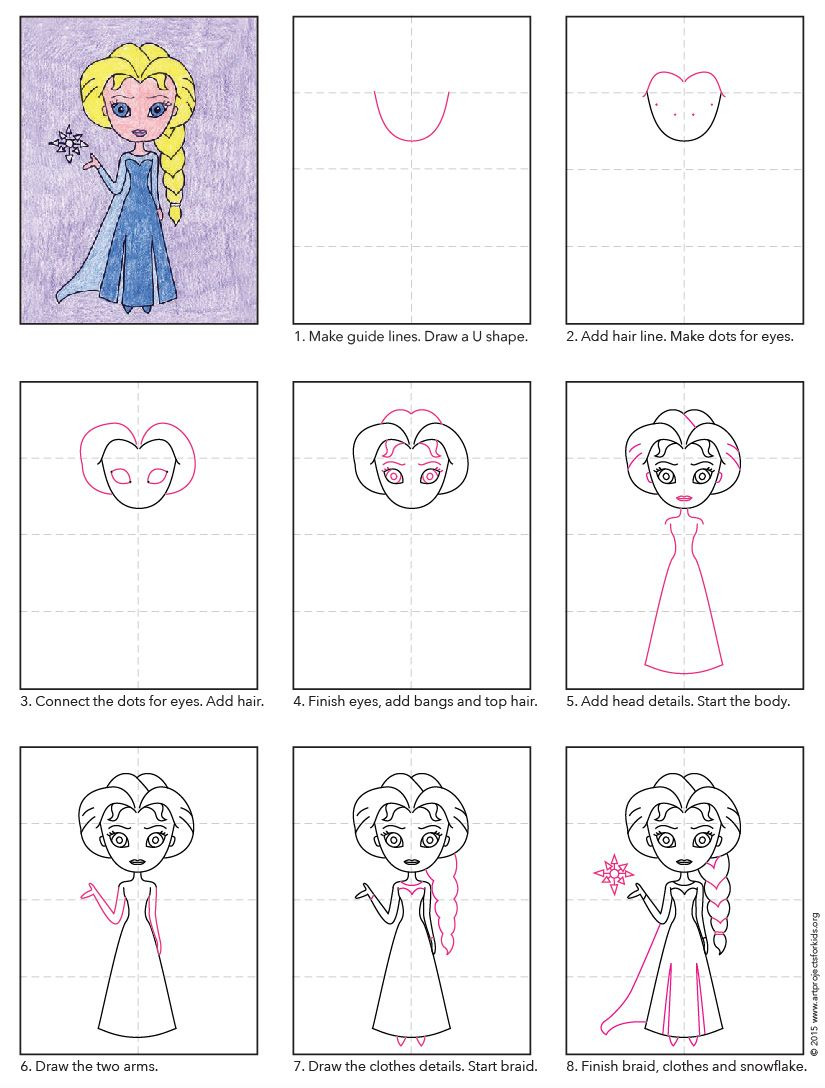 step by step how to draw elsa