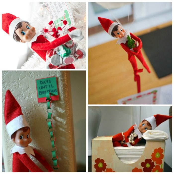 """We've done """"Elf on the Shelf"""" at our house for the past few years (if you don't have one you need to get one for your kids). It gets hard to think of new (and clever) ideas to hide the elf, so I have come up with this list of Elf on the Shelf ideas!"""