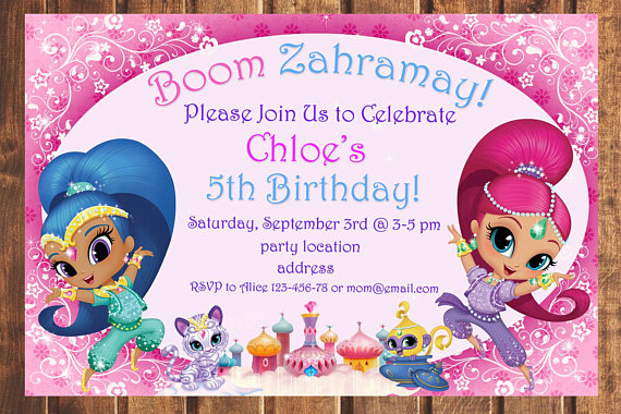 sale shimmer and shine birthday invitation shimmer and