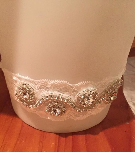 Rhinestone applique garter - Along the Bridal Path & Julz Jewels