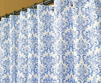 Shower Curtain In Light Blue And White Damask Swirl By LaRicaHome, $109.95