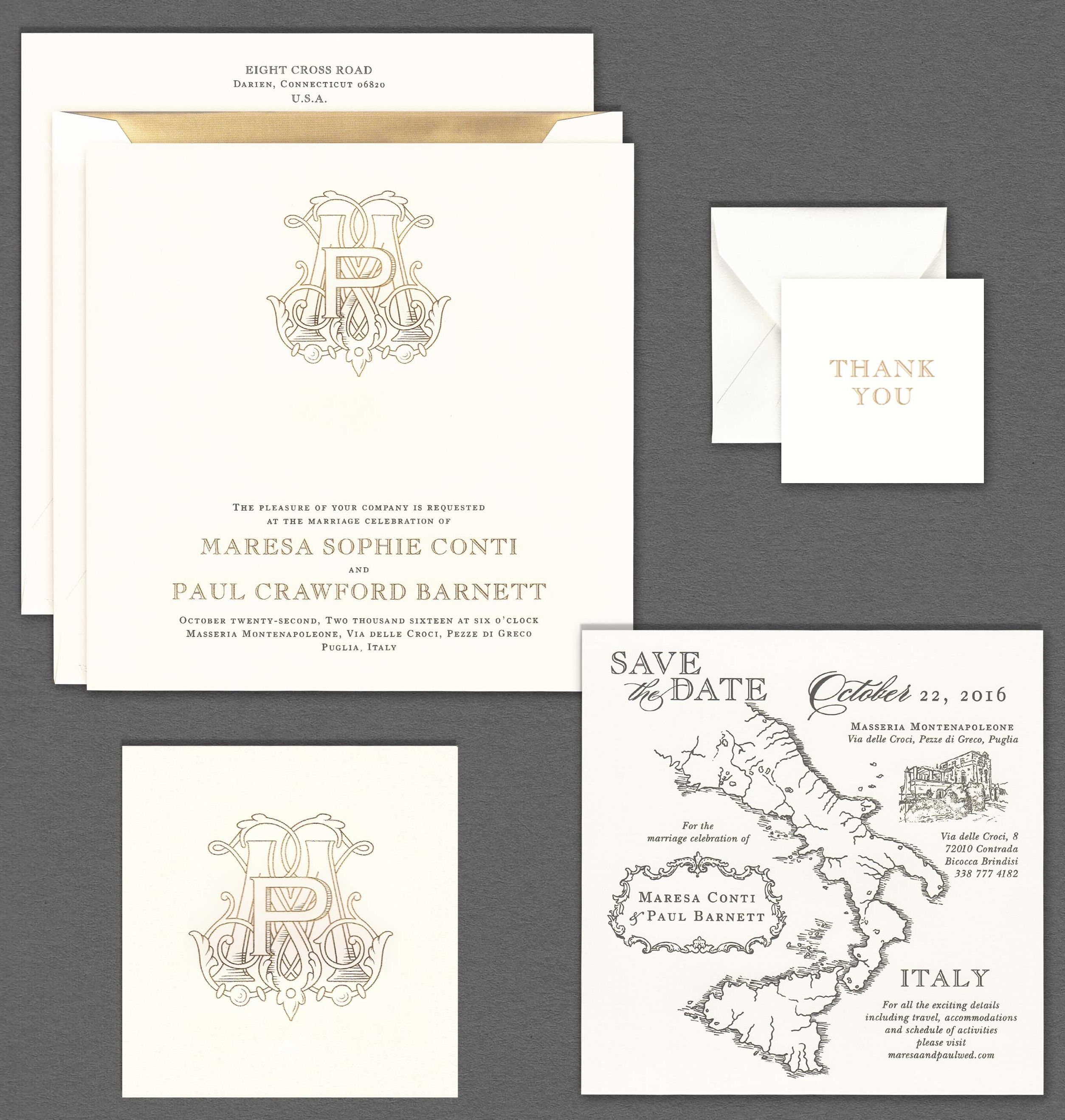 Vera Wang extra large square wedding invitation with a gold monogram ...