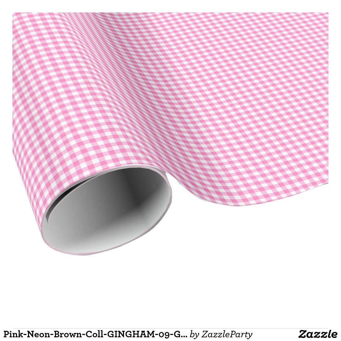 Pink-Neon-Brown-Coll-GINGHAM-09-GIFT WRAP PAPER Wrapping Paper #pink #gingham #giftwrap
