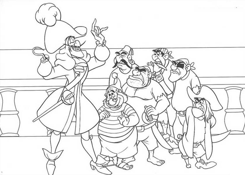 Captain Hook Make A Plan To Catch Peter Pan Coloring Page