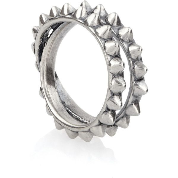 Tom Binns Punk Pave spiked oxidized silver ring ($200) ❤ liked on Polyvore