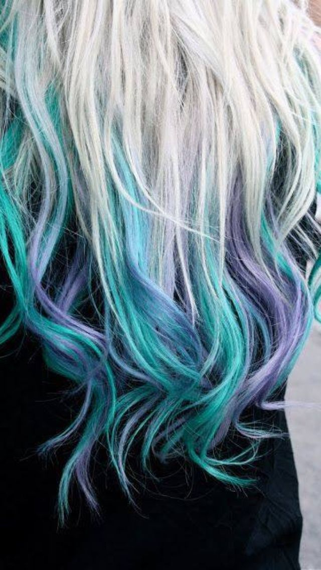 blue blond purple #dyed #clipinhairextensions