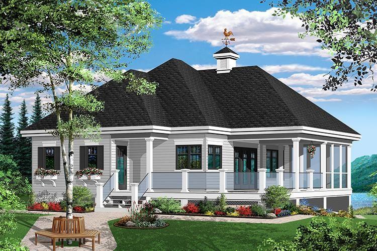 House Plan 034 00889 Vacation Plan 1 070 Square Feet 1 Bedroom 1 Bathroom Beach House Plans Farmhouse Style House Plans Lake House Plans