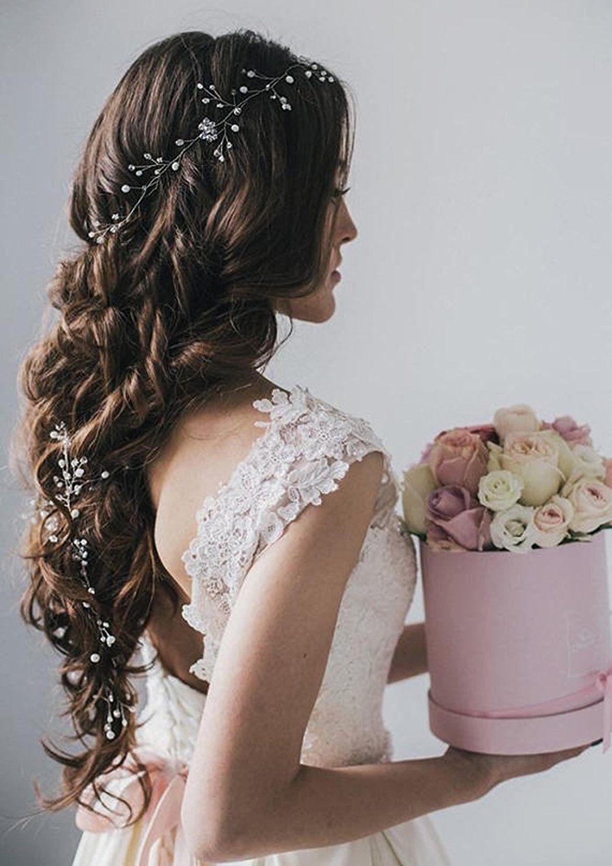 aukmla cheveux vigne long brillant pour demoiselle d 39 honneur et honneur postiche beaut charmant. Black Bedroom Furniture Sets. Home Design Ideas