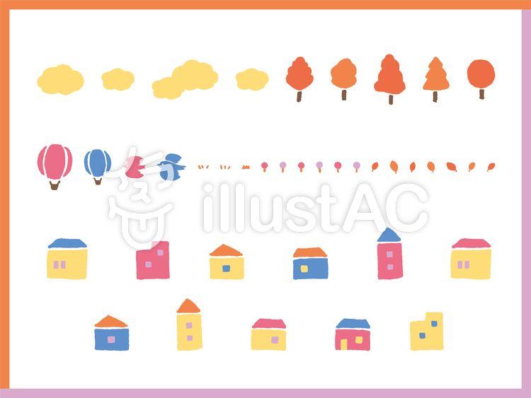 家 木 花 雲 気球 鳥 秋のセットイラスト 画像あり フリー素材