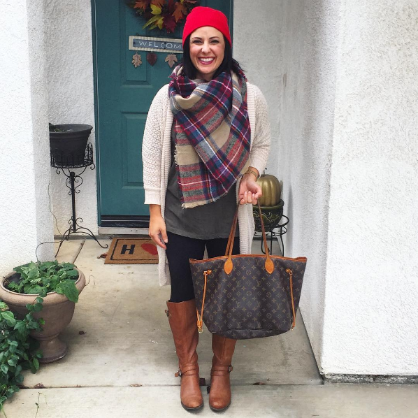 53ff3c0d3388 How adorable is  kari.montgomery in the Joan boot and her holiday plaid   Shop her shoe now!