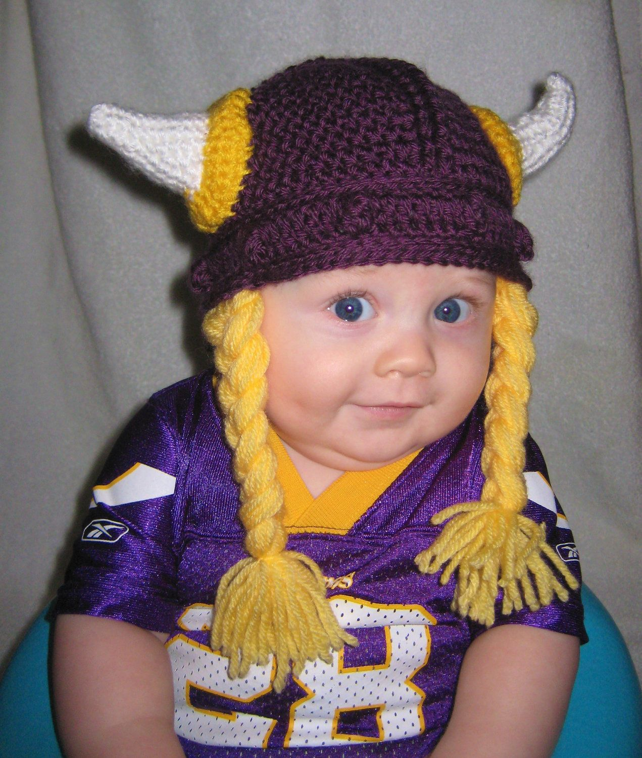 Free Crochet Patterns For Viking Hat : Crocheted Viking Helmet with Braids- Minnesota Vikings ...
