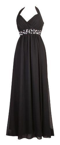 febb8df053f107 Lange Neckholder Kleider für Damen Cocktailkleider Abendkleider lange  Ballkleider Maxikleider Kleid Frauen Schwarz: Amazon.co.uk: Clothing