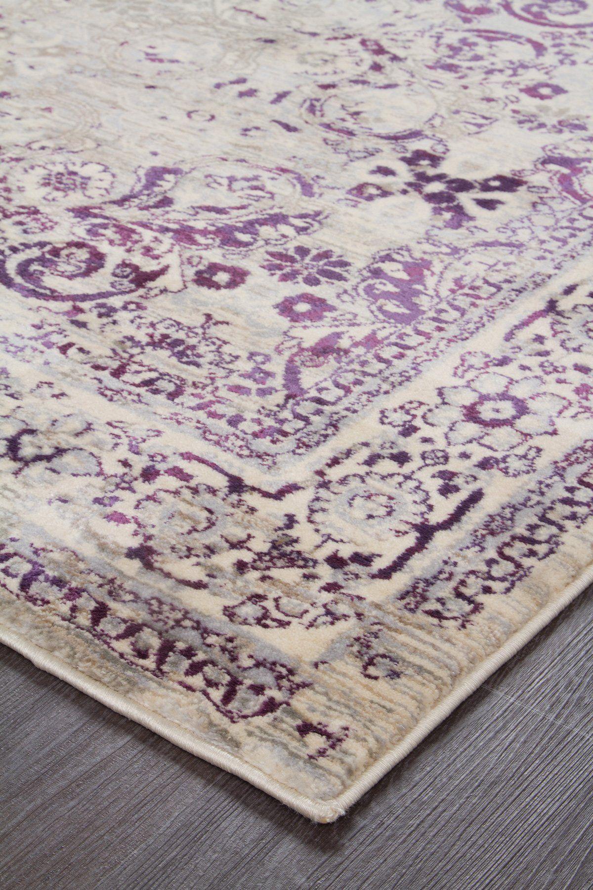 Purple Distressed Traditional Print Rug