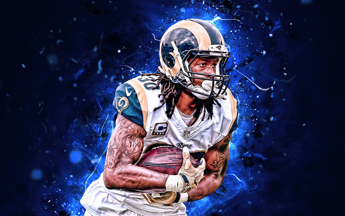 Download Wallpapers Todd Gurley Cornerback La Rams American Football Nfl Los Angeles Rams Todd Gurley Ii National Football League Neon Lights Creative Football National Football La Rams