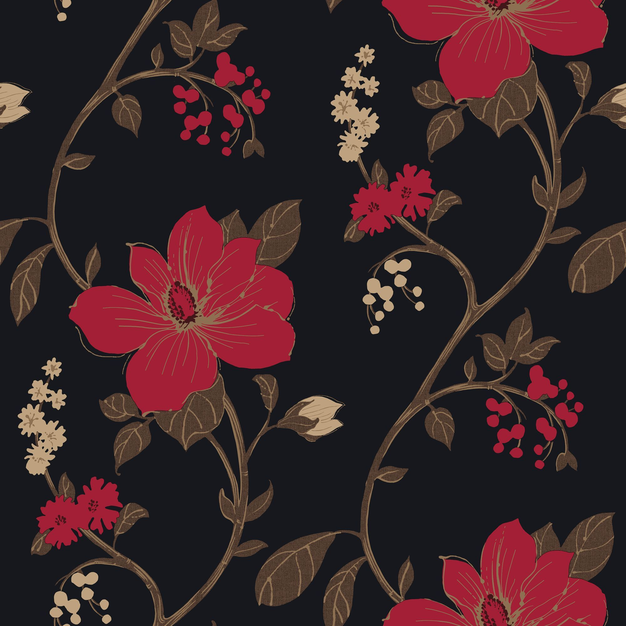 Diy supplies accessories diy at b q - Tatami Black Red Floral Mica Wallpaper B Q For All Your Home And Garden Supplies And Advice On All The Latest Diy Trends