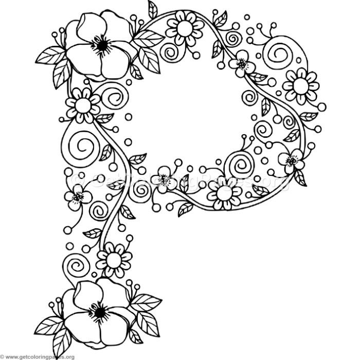 download free floral alphabet letter p coloring pages