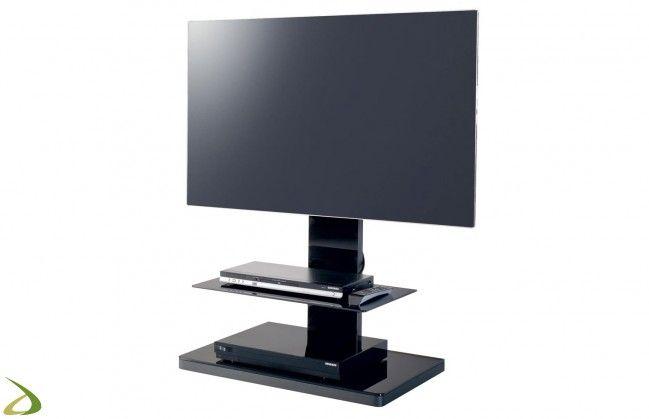 Porta tv bianco a colonna di design con ripiano in vetro | Tv ...