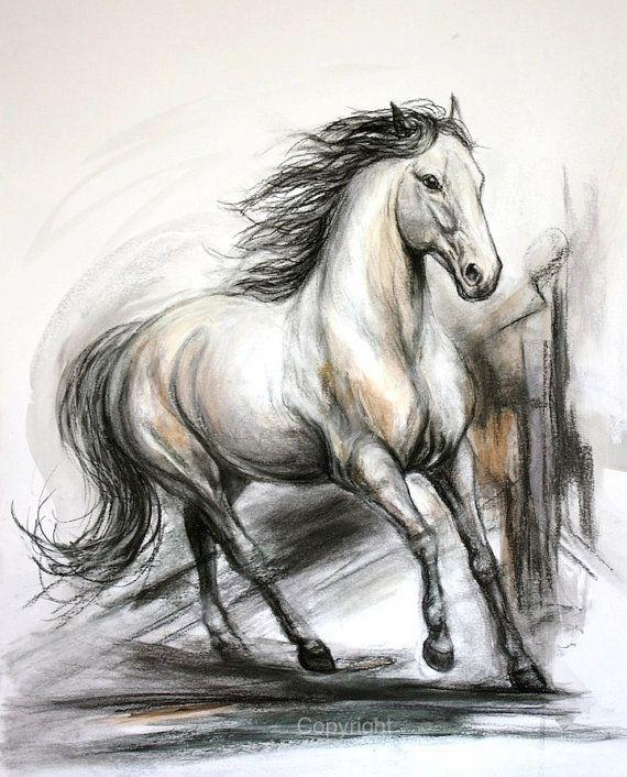 Original Dibujo De Caballo A Carboncillo De Por Ferrarofineart Horse Drawings Horse Drawing Animal Drawings