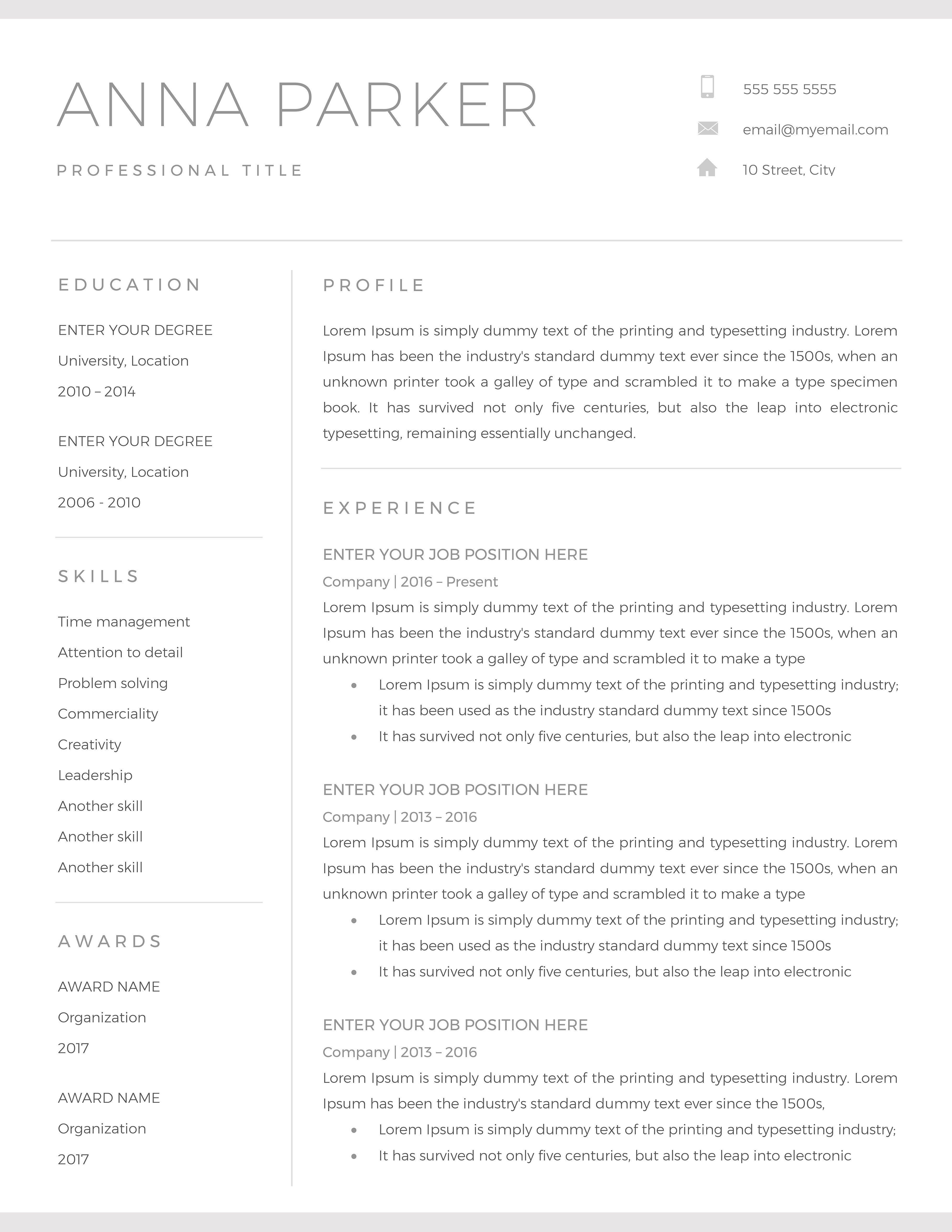 Resume Template / CV Preparing a resume should never be a