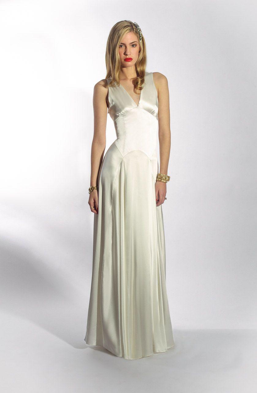 The Mae Dress by Belle & Bunty London. Sleeveless Ivory silk satin wedding dress