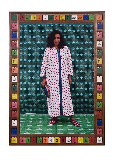 "Hassan Hajjaj | ""Ya Amina,"" 2006, Edition of 10, Digital C-Type on Fuji Crystal, 34.3h x 24.4w in / 87h x 62w cm"
