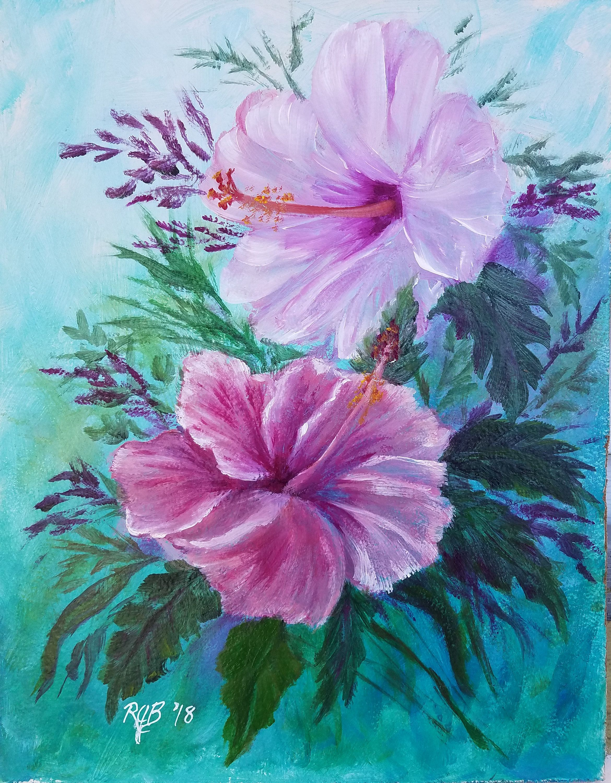 9x12 inch acrylic painting of 2 hibiscus flowers paintings for 9x12 inch acrylic painting of 2 hibiscus flowers by rickjberubeartstudio on etsy izmirmasajfo