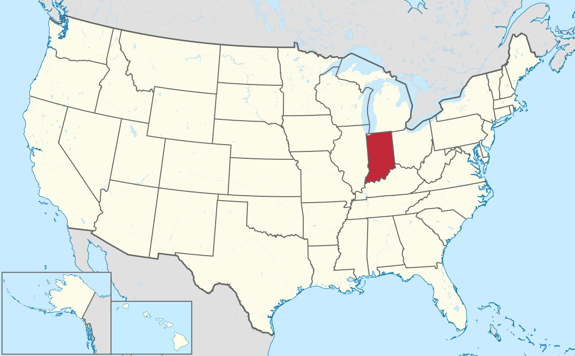 Map Of The United States With Indiana Highlighted Mottos The - Indiana on a map of the usa