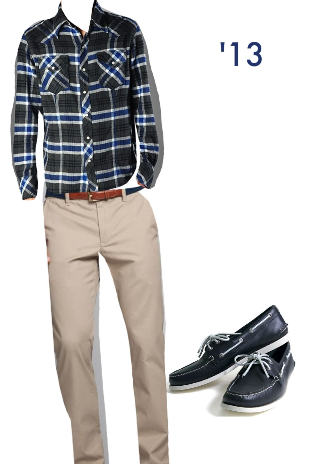 Flannel shirt, khakis and boat shoes- stylish! #combo #fashionable #neat #classy