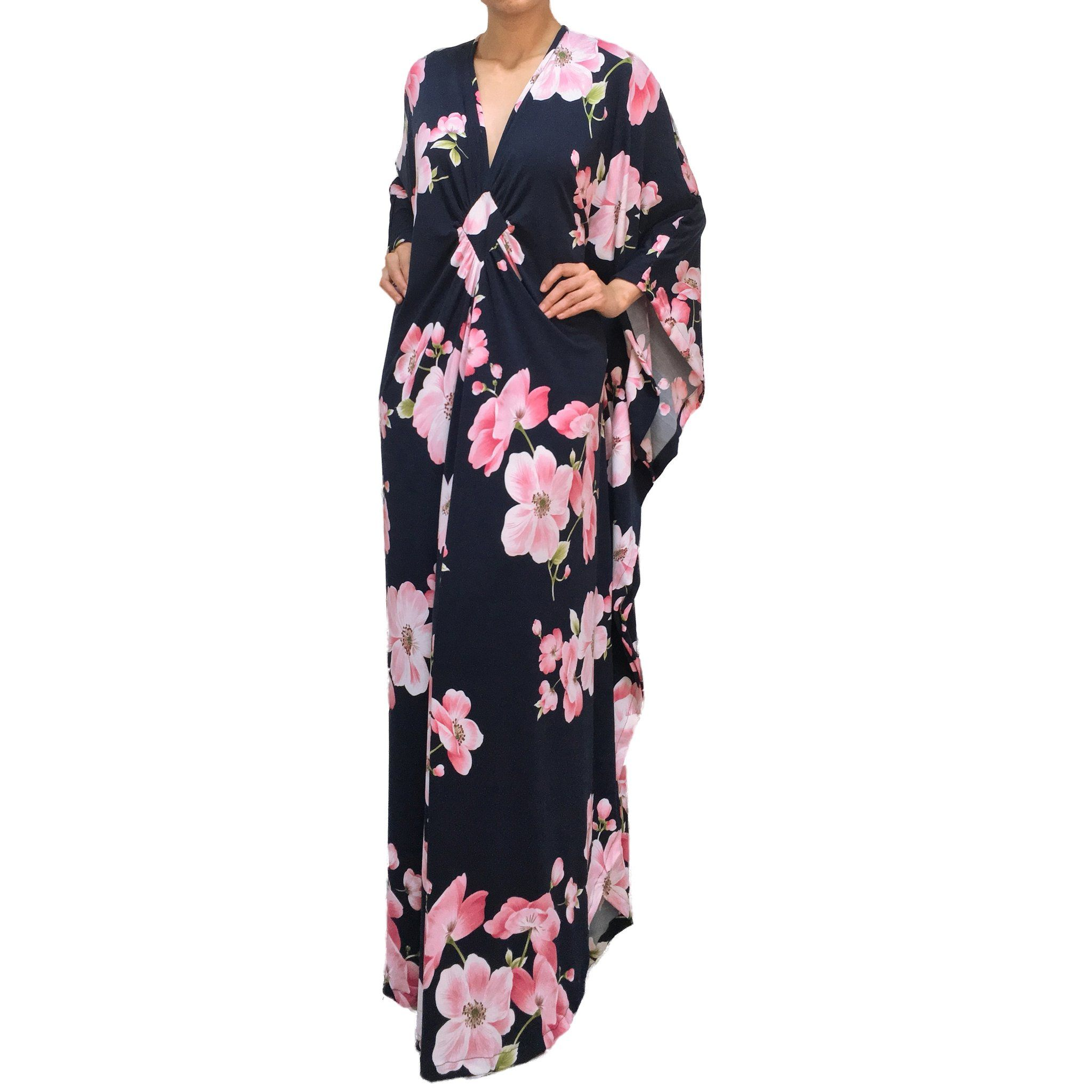 Kaftan maxi dress print navy blue with pink floral autumn winter