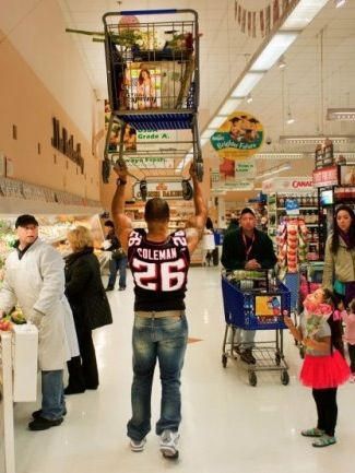 How To Shop at Walmart if You are Hercules - Strongman Lifts Shopping Cart WTF - Funny Pictures at Walmart