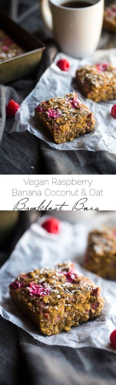 Vegan Raspberry Banana Breakfast Bar Recipe – Super easy and naturally sweetened with raspberries and banana for a healthy, vegan-friendly breakfast for busy, on-the-go mornings!   Foodfaithfitness.com   @FoodFaithFit