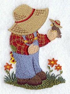 Machine Embroidered Quilt Block - Sunbonnet Sam Bird lover