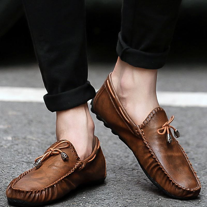 reliable sale online Men Trendy Slip-On Leather Flat Casual Shoes fashion Style for sale discount visit clearance store jLFDVJs