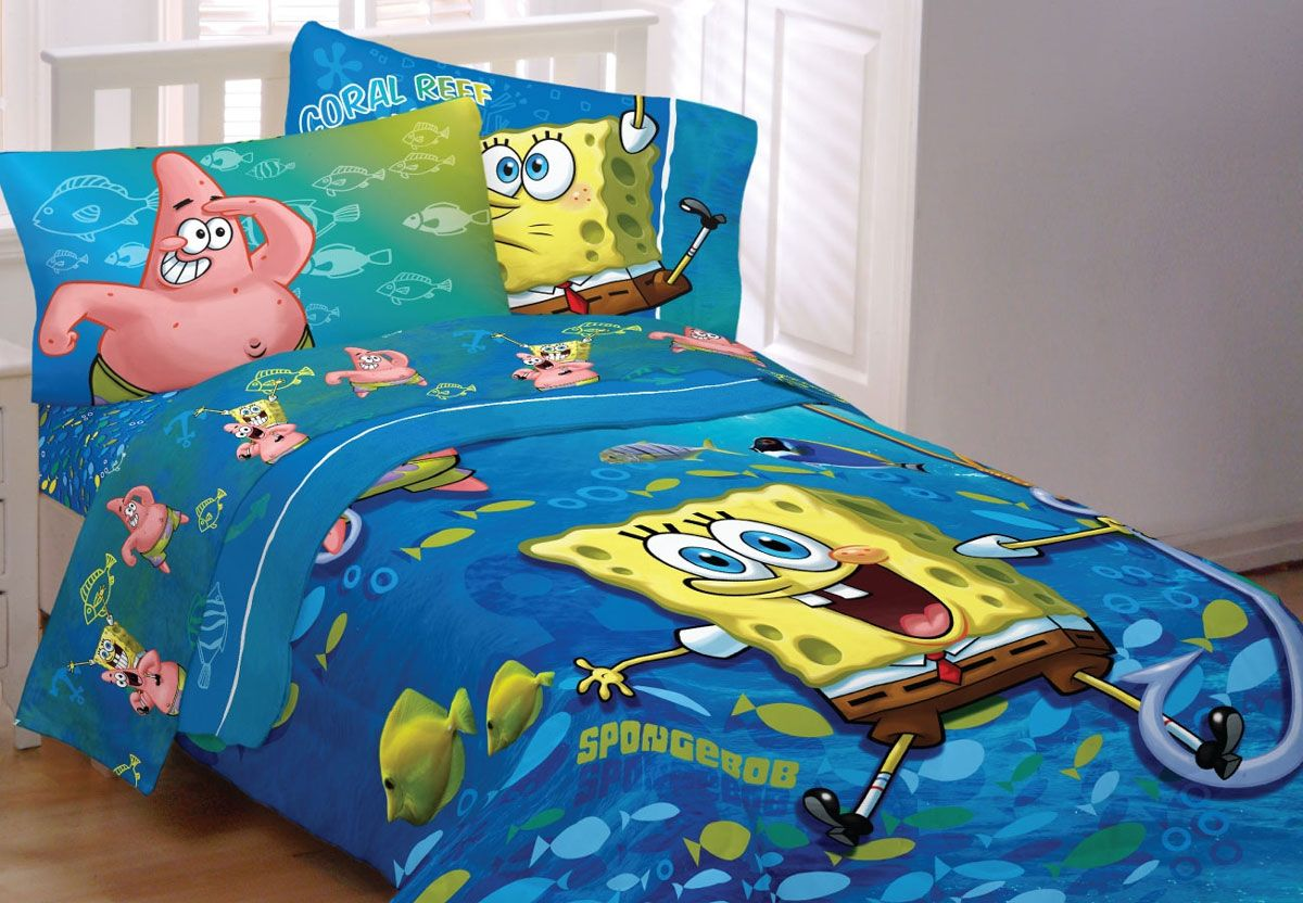 Spongebob Squarepants Bedding Set Fish Swirl Comforter Sheets