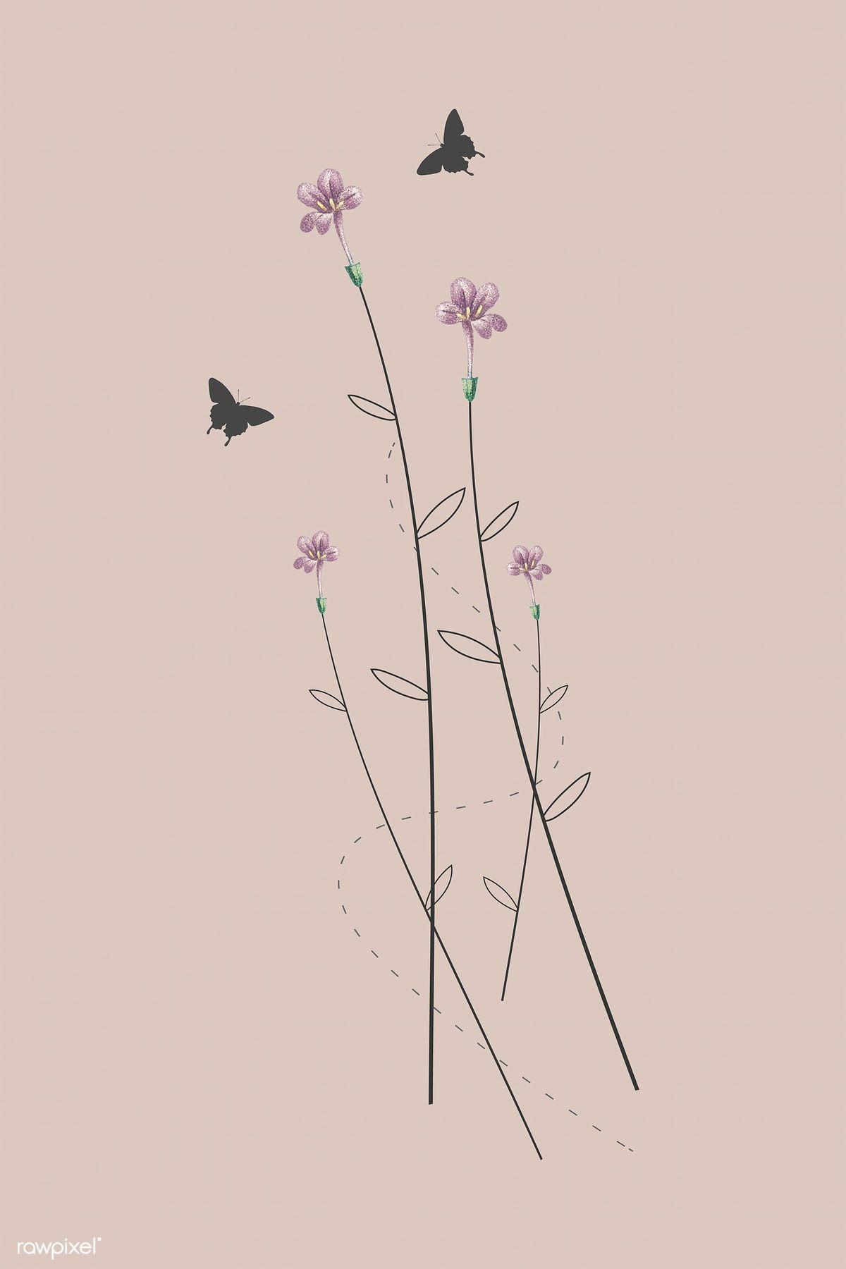 Download premium vector of Tiny pink wild flowers minimal design ...