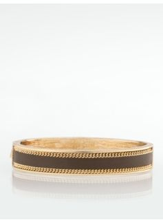 Leather Inlay Gold Cuff From Talbots