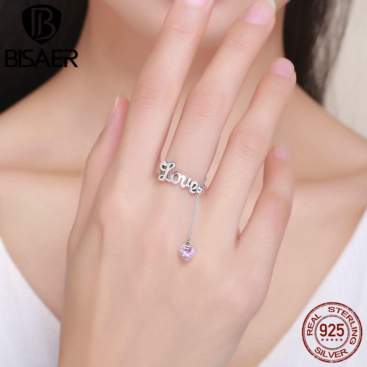 Real 100% Pink Heart Love Letters Finger Rings for Women Girl ...