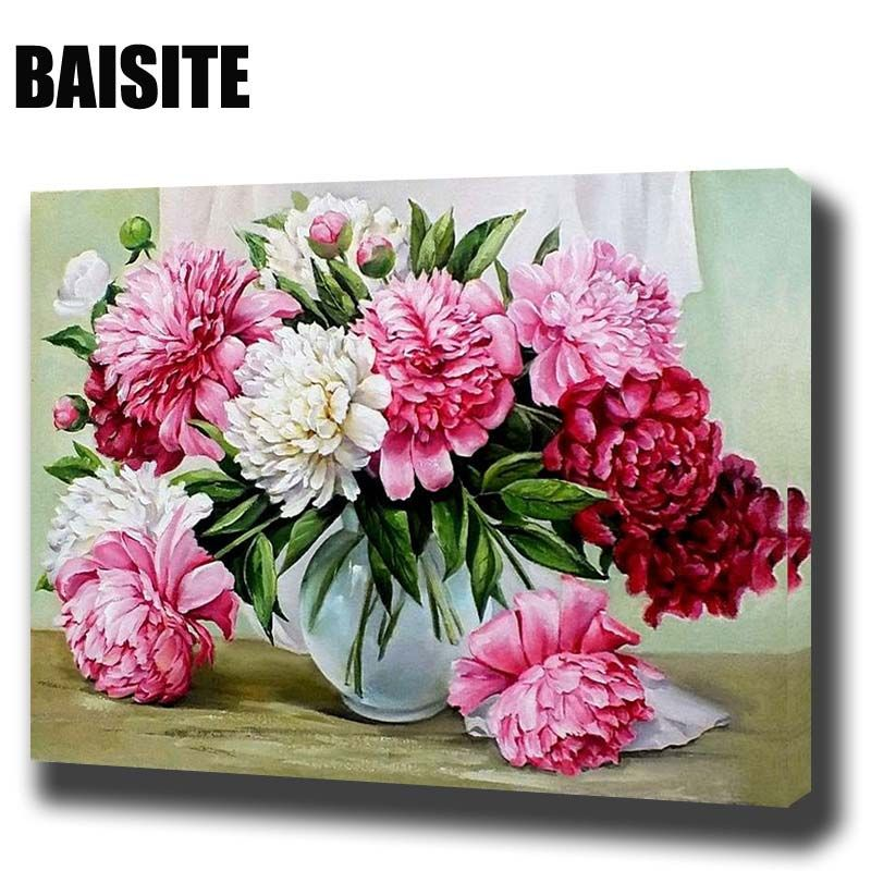 BAISITE DIY Framed Oil Painting By Numbers Flowers Pictures Canvas ...