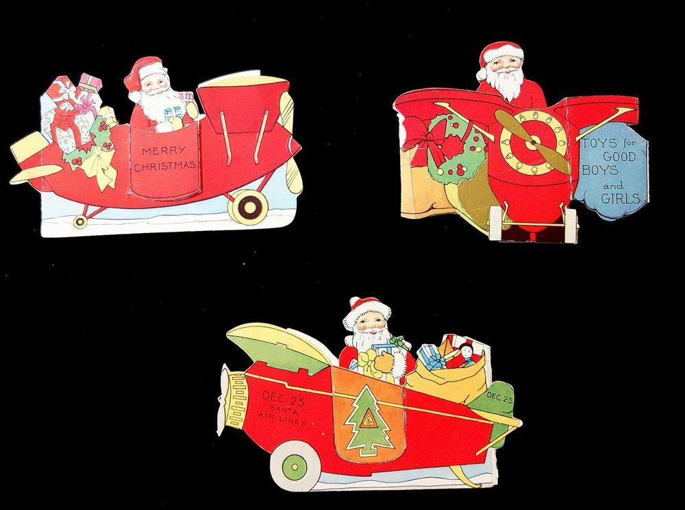 3 Die-cut Folding Christmas Cards - Santaw Toys and Airplanes c ...