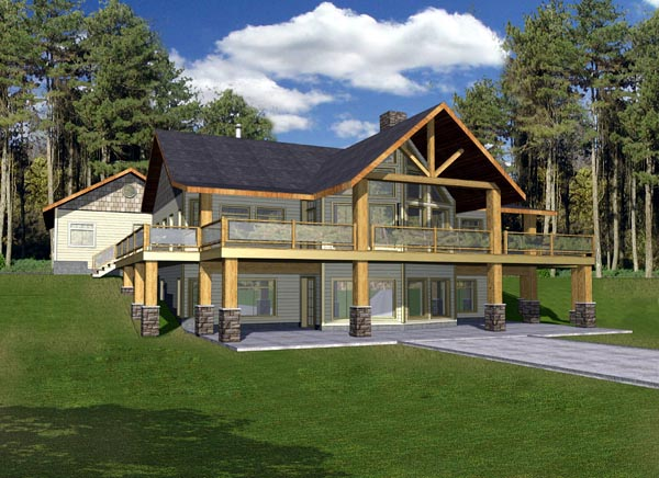 Log Style House Plan 87208 With 3 Bed 3 Bath 3 Car Garage Basement House Plans Ranch Style House Plans Lake House Plans