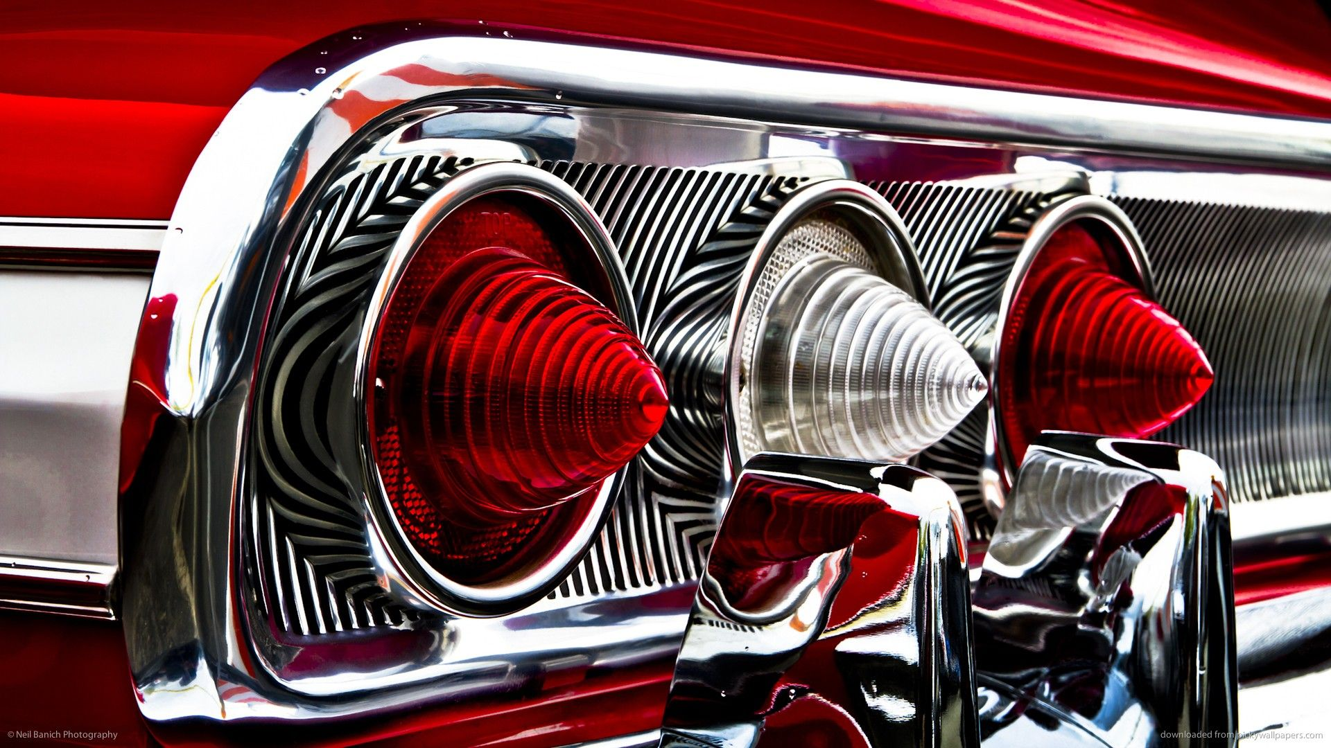 Classic Car Classic Hot Rod Tail Light Red Chevrolet Chevy Impala Reflection Chrome Wallpaper 1920x1080 58249 Impala Chevrolet Impala Tail Light Retro vintage red car headlight hd