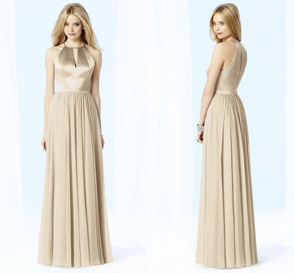 Champagne long bridesmaid dresses bridesmaids dresses pinterest