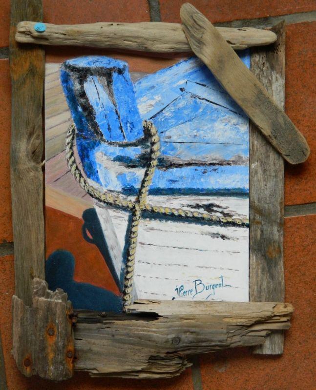 Tableau peinture proue bateau marine noirmoutier proue for Bateau en bois flotte